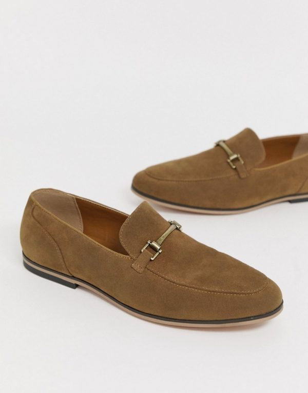 ASOS DESIGN loafers in tan faux suede with snaffle