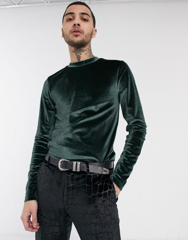ASOS DESIGN long sleeve muscle t-shirt in velour in green
