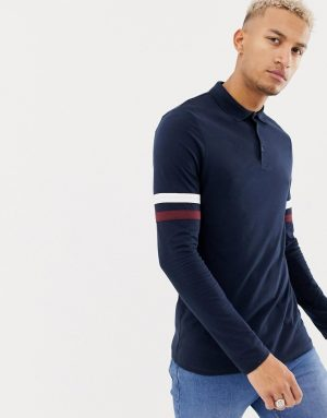 ASOS DESIGN long sleeve polo shirt with contrast sleeve stripe in navy