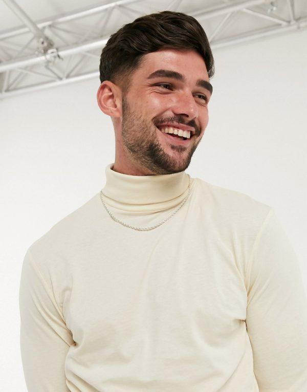 ASOS DESIGN long sleeve roll neck t-shirt in beige