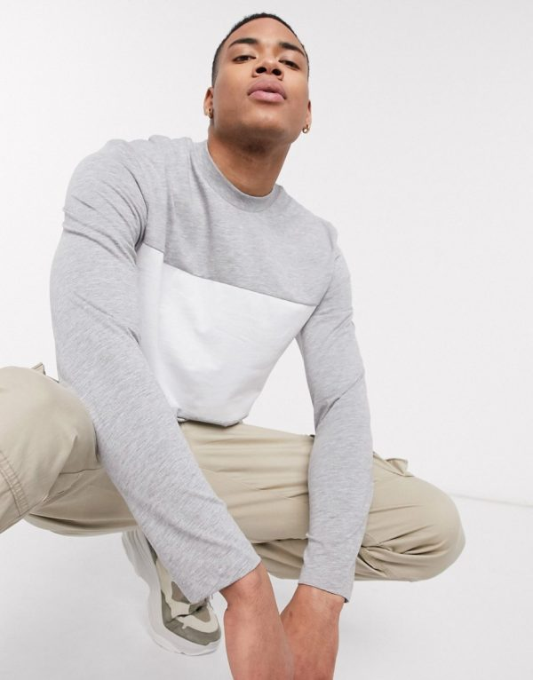 ASOS DESIGN long sleeve t-shirt with contrast panel in gray marl