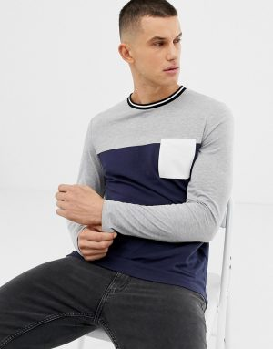 ASOS DESIGN long sleeve t-shirt with contrast yoke and pocket in navy