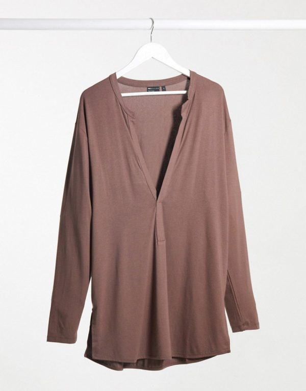 ASOS DESIGN long sleeve viscose t-shirt with deep extreme v-neck in viscose in brown-Beige