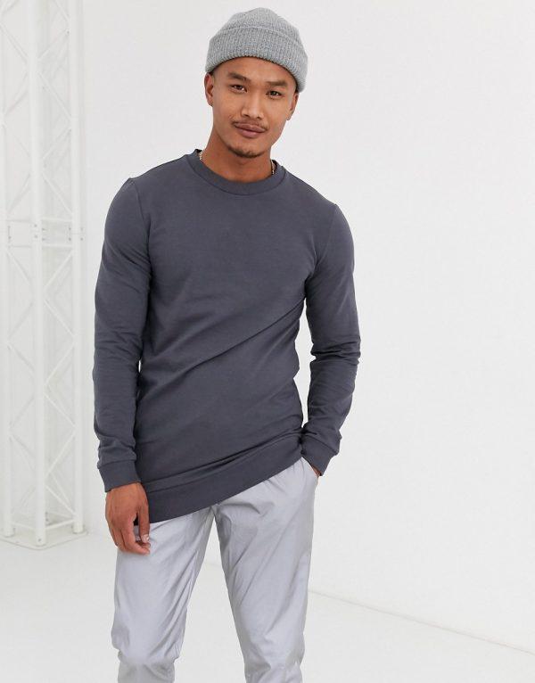ASOS DESIGN longer length muscle sweatshirt in washed black-Grey