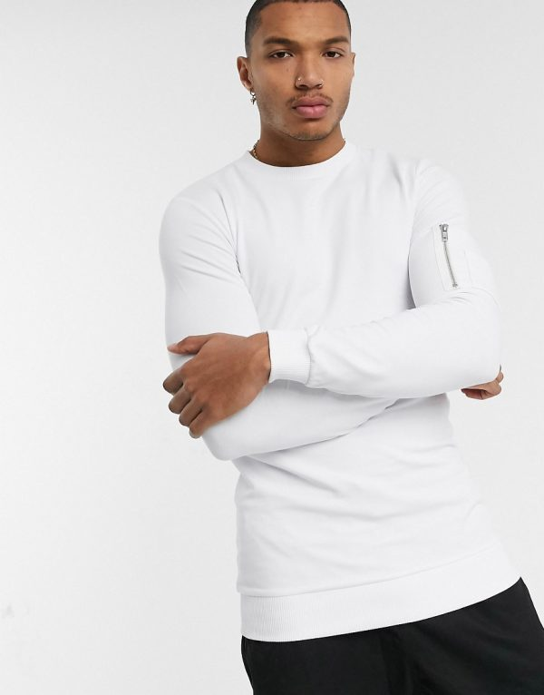 ASOS DESIGN longer length muscle sweatshirt in white with MA1 pocket