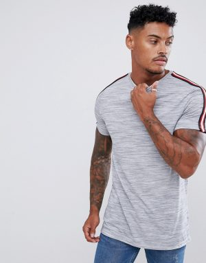 ASOS DESIGN longline t-shirt in interest fabric with contrast taping in gray