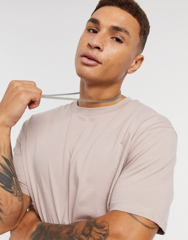 ASOS DESIGN longline t-shirt with curved hem in pink-Beige