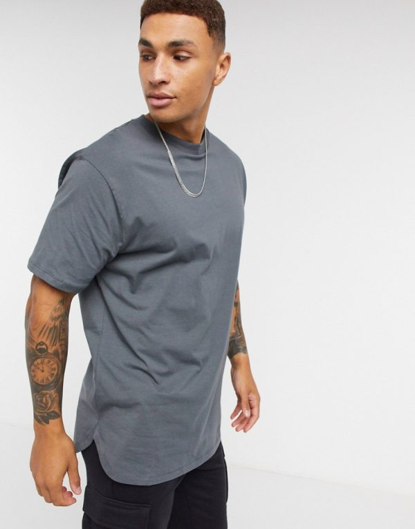 ASOS DESIGN longline t-shirt with curved hem in washed black