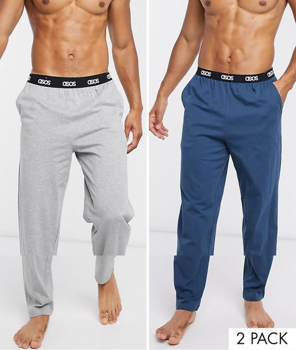 ASOS DESIGN lounge bottoms in gray marl & navy save-Multi