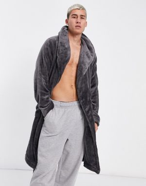 ASOS DESIGN lounge dressing gown in charcoal fleece-Grey