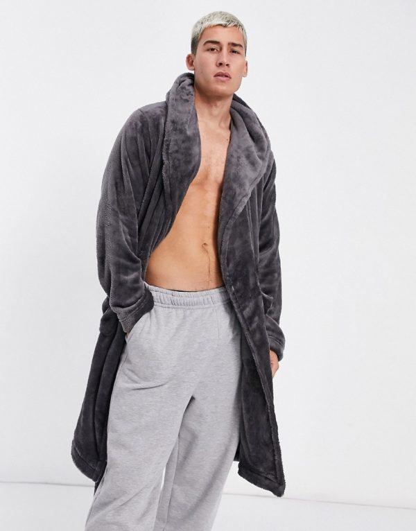 ASOS DESIGN lounge dressing gown in charcoal fleece-Grey