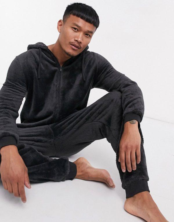 ASOS DESIGN lounge onesie in black fleece
