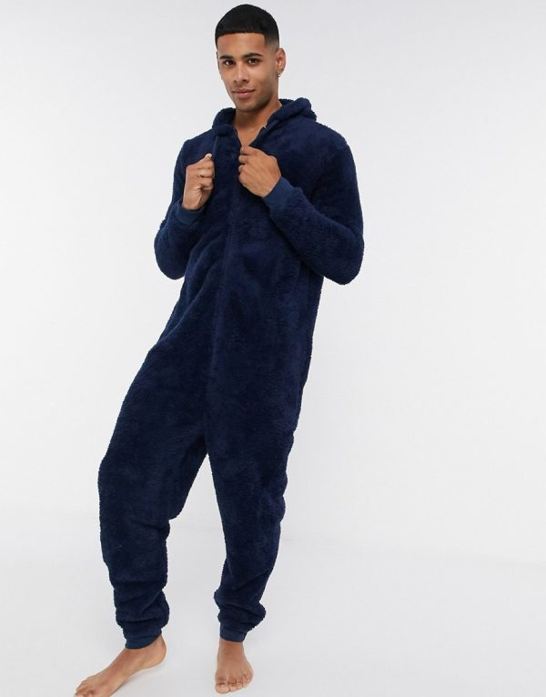 ASOS DESIGN lounge onesie in navy fleece