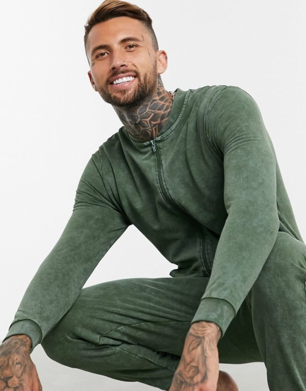 ASOS DESIGN lounge onesie in washed green-Blue