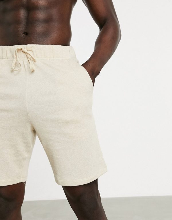 ASOS DESIGN lounge pajama shorts in beige jersey