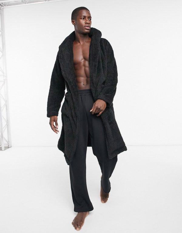 ASOS DESIGN lounge robe in black fleece