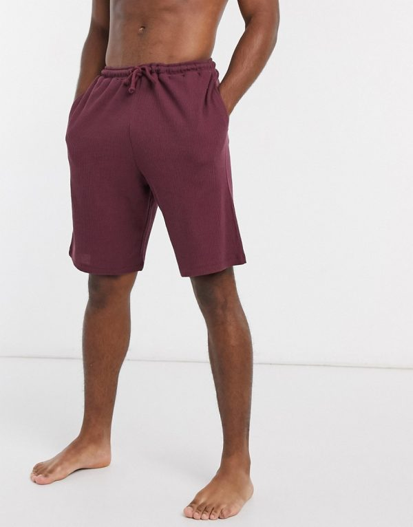 ASOS DESIGN lounge shorts in burgundy waffle-Red