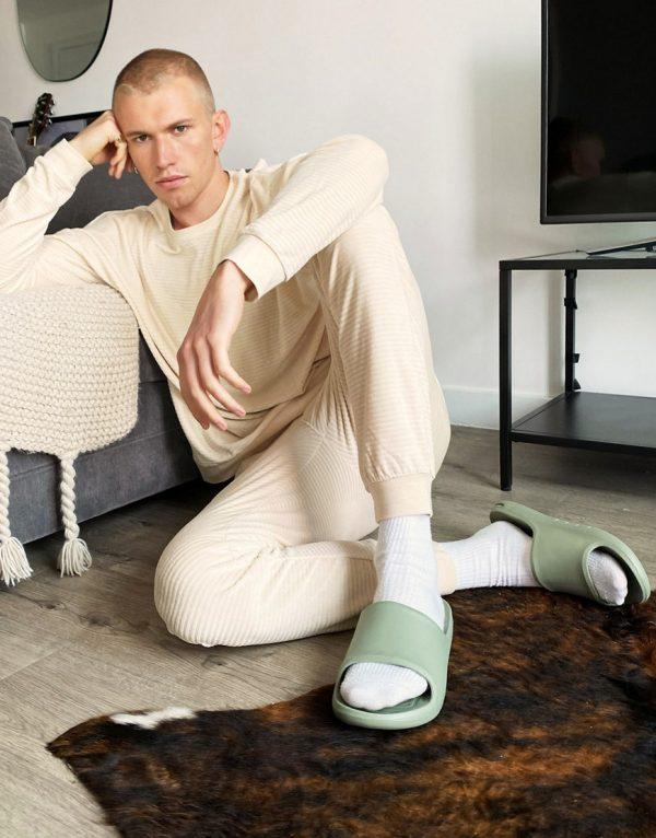 ASOS DESIGN lounge soft rib long sleeve t-shirt and sweatpants pajama set in beige