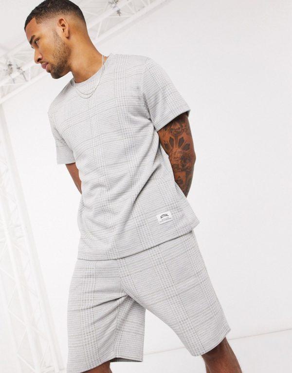 ASOS DESIGN lounge t-shirt and short pajama set in jersey check-Grey