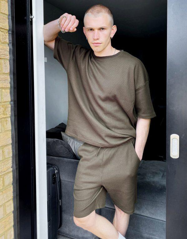 ASOS DESIGN lounge t-shirt and short pajama set in khaki waffle-Green