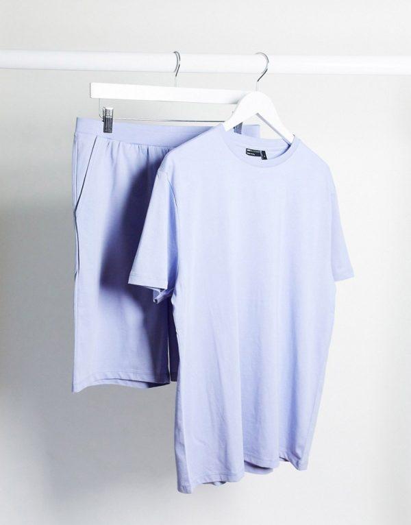 ASOS DESIGN lounge t-shirt and short pajama set in lilac-Purple