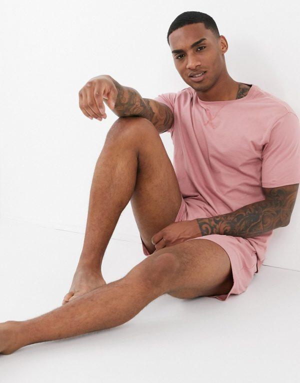 ASOS DESIGN lounge t-shirt and short pajama set in pink