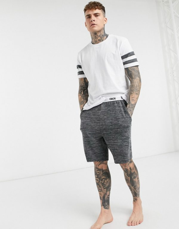 ASOS DESIGN lounge t-shirt and short pajama set with cut and sew marl panels and branded waistband-White
