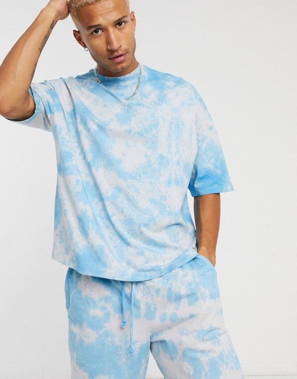 ASOS DESIGN lounge two-piece oversized t-shirt with pastel tie dye-Multi