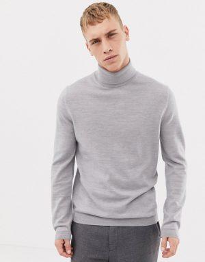 ASOS DESIGN merino wool roll neck sweater in pale gray