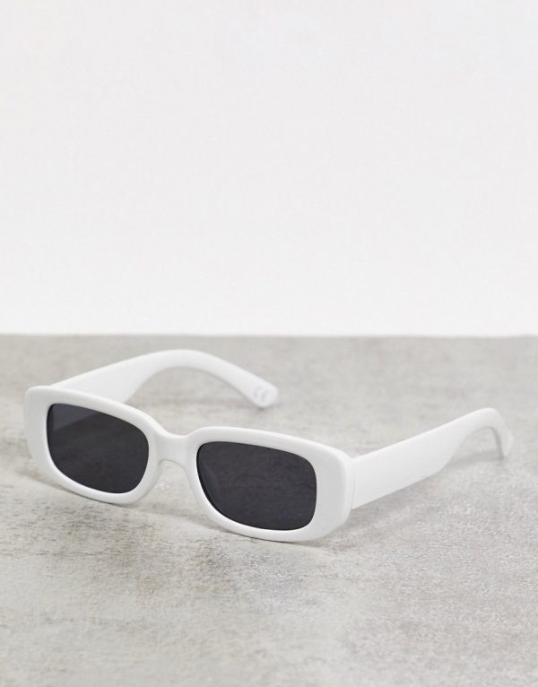 ASOS DESIGN mid rectangle sunglasses in white with black lens