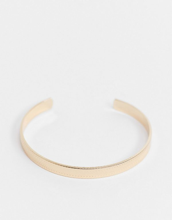 ASOS DESIGN midweight 5mm bangle with textured design in gold tone