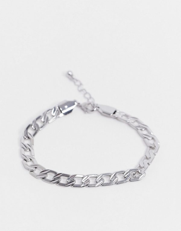 ASOS DESIGN midweight 7mm chain bracelet with texture in shiny silver tone
