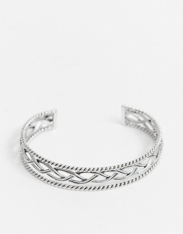 ASOS DESIGN midweight 8mm bangle with scorpion design in burnished silver tone
