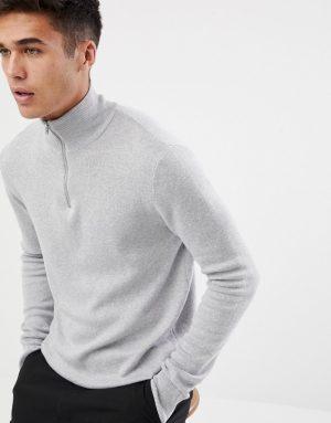 ASOS DESIGN midweight half zip sweater in gray