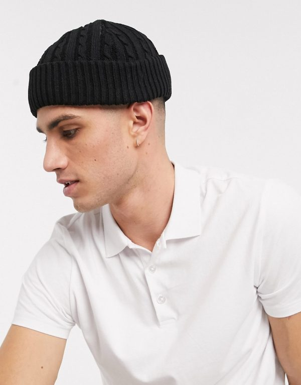 ASOS DESIGN mini fisherman beanie in black with cable knit