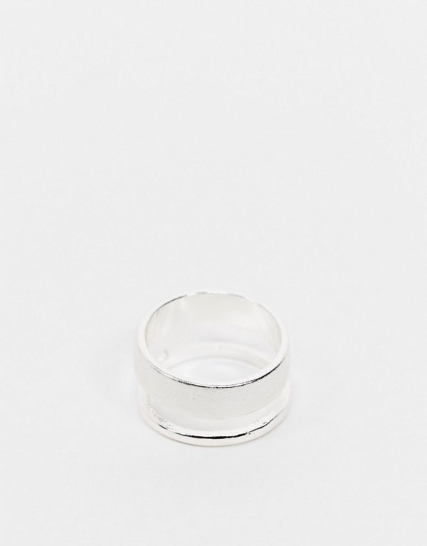 ASOS DESIGN minimal ring with brushed and shiny effect in silver tone