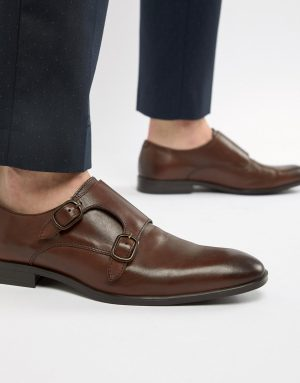 ASOS DESIGN monk shoes in brown leather