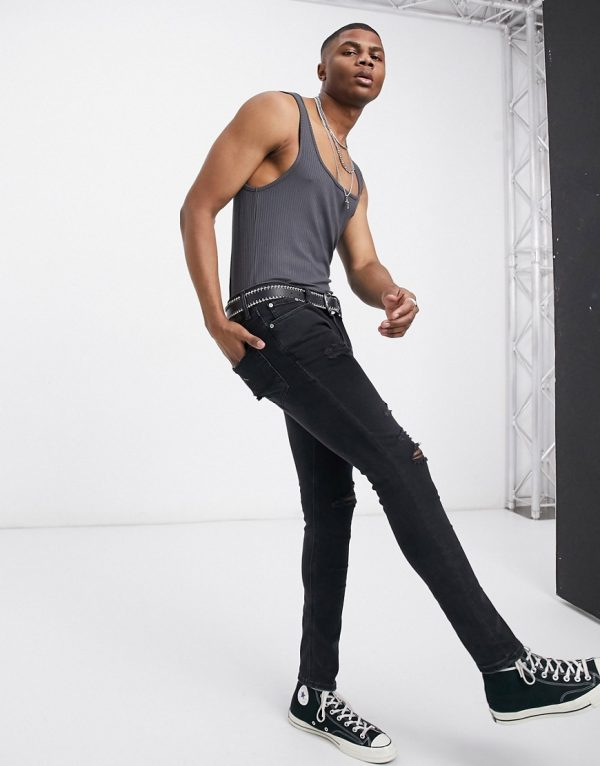 ASOS DESIGN muscle fit extreme square neck tank in washed black-Gray