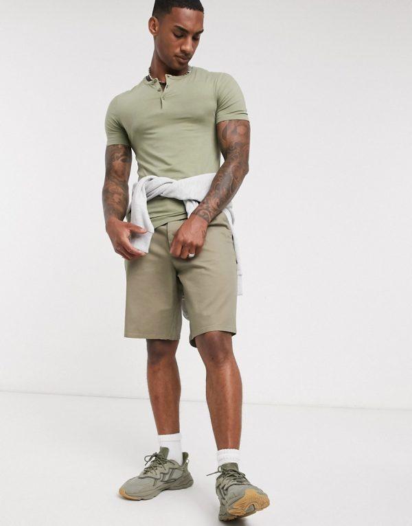 ASOS DESIGN muscle fit grandad neck t-shirt in khaki-Green