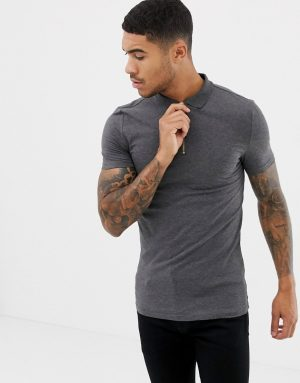 ASOS DESIGN muscle fit jersey polo with stretch with zip neck in gray