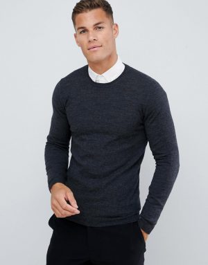 ASOS DESIGN muscle fit merino wool sweater in charcoal-Gray