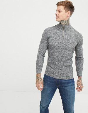ASOS DESIGN muscle fit ribbed half zip sweater in gray twist