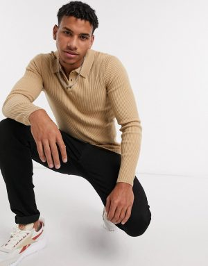 ASOS DESIGN muscle fit ribbed polo in camel-Brown