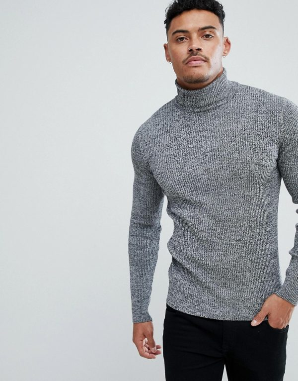 ASOS DESIGN muscle fit ribbed roll neck sweater in black & white twist-Gray