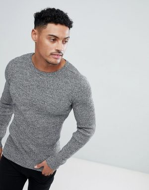 ASOS DESIGN muscle fit ribbed sweater in black & white twist-Gray