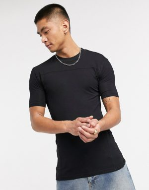 ASOS DESIGN muscle fit viscose t-shirt in black with seam detail
