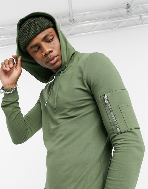 ASOS DESIGN muscle hoodie with MA1 pocket in khaki-Green