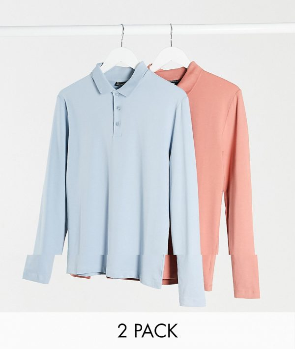 ASOS DESIGN muscle long sleeve polo 2 pack-Multi