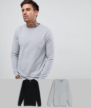 ASOS DESIGN muscle sweatshirt 2 pack black/gray-Multi