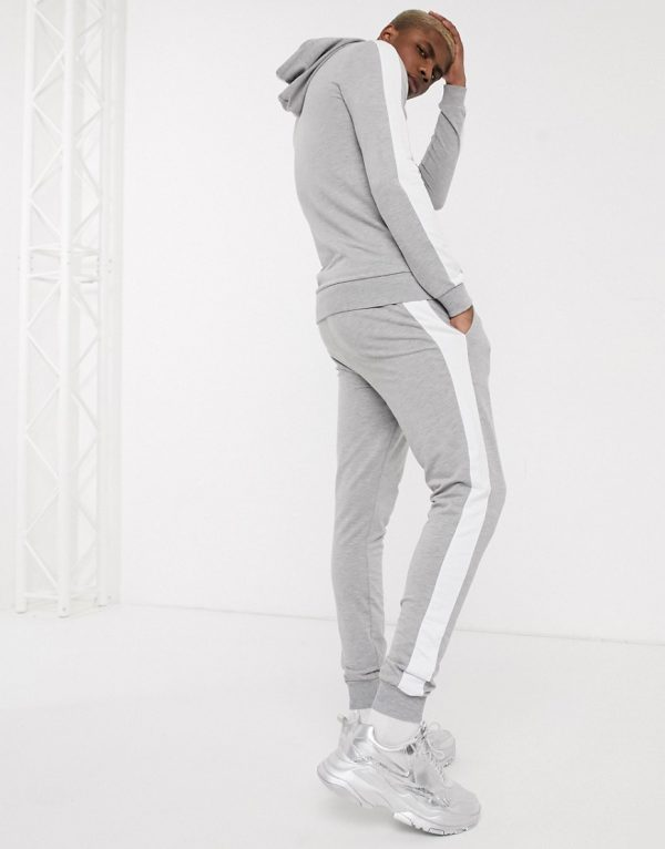 ASOS DESIGN muscle tracksuit with hoodie & side stripe in gray marl